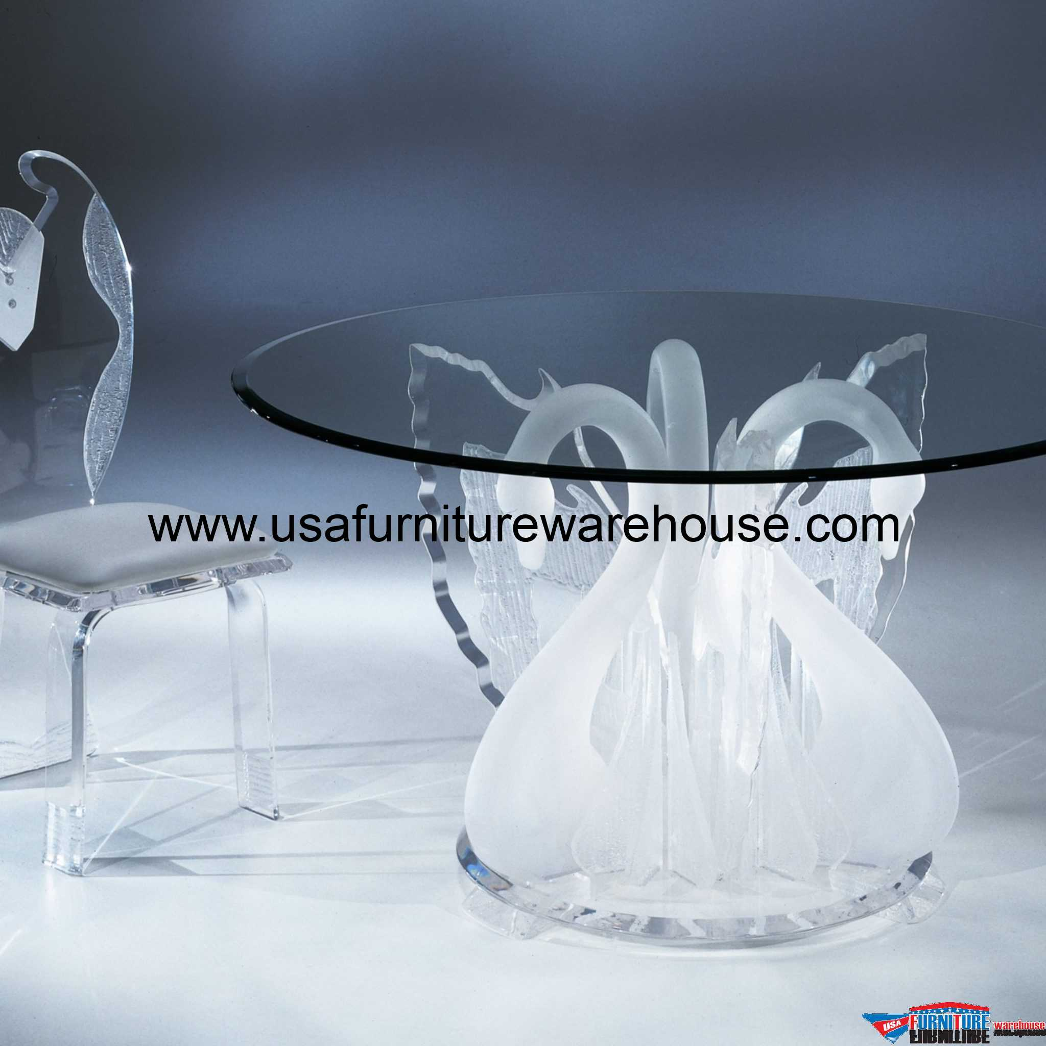 Acrylic Clear Legend Swan Round Dining Table With Glass Top