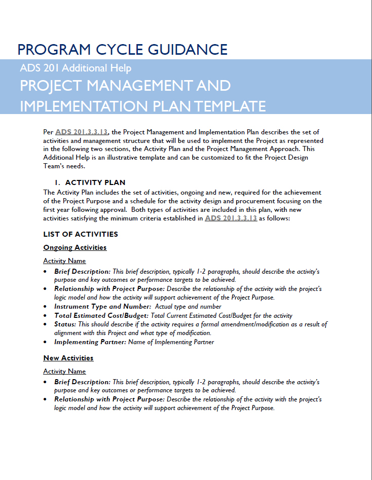 PROGRAM CYCLE GUIDANCE PROJECT MANAGEMENT AND IMPLEMENTATION PLAN