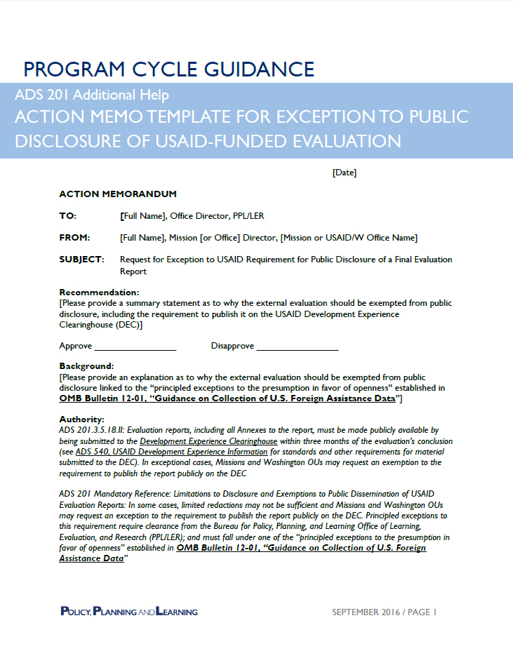 ADS Reference 201sag US Agency for International Development - external memo templates