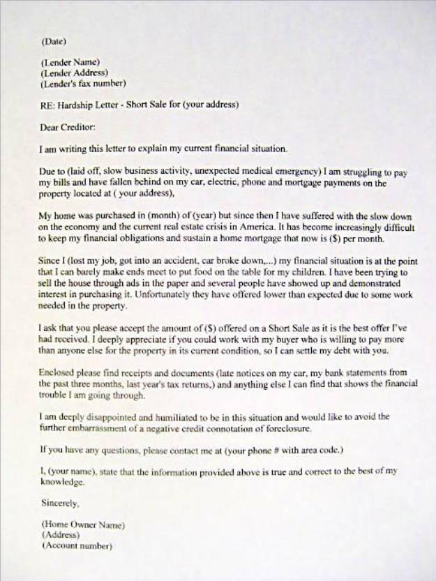 free sample hardship letter for loan modification