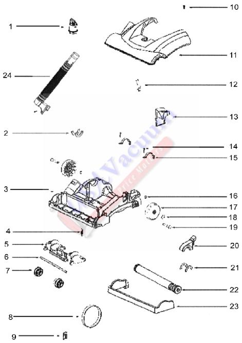 Eureka 2903A Upright Vacuum Cleaner Parts List  Schematic