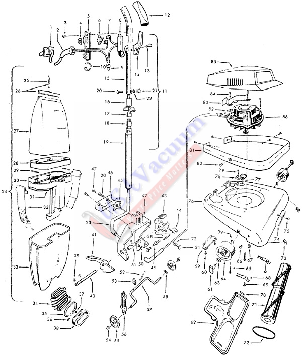 Hoover C1401 Industrial Upright Vacuum Cleaner Parts List