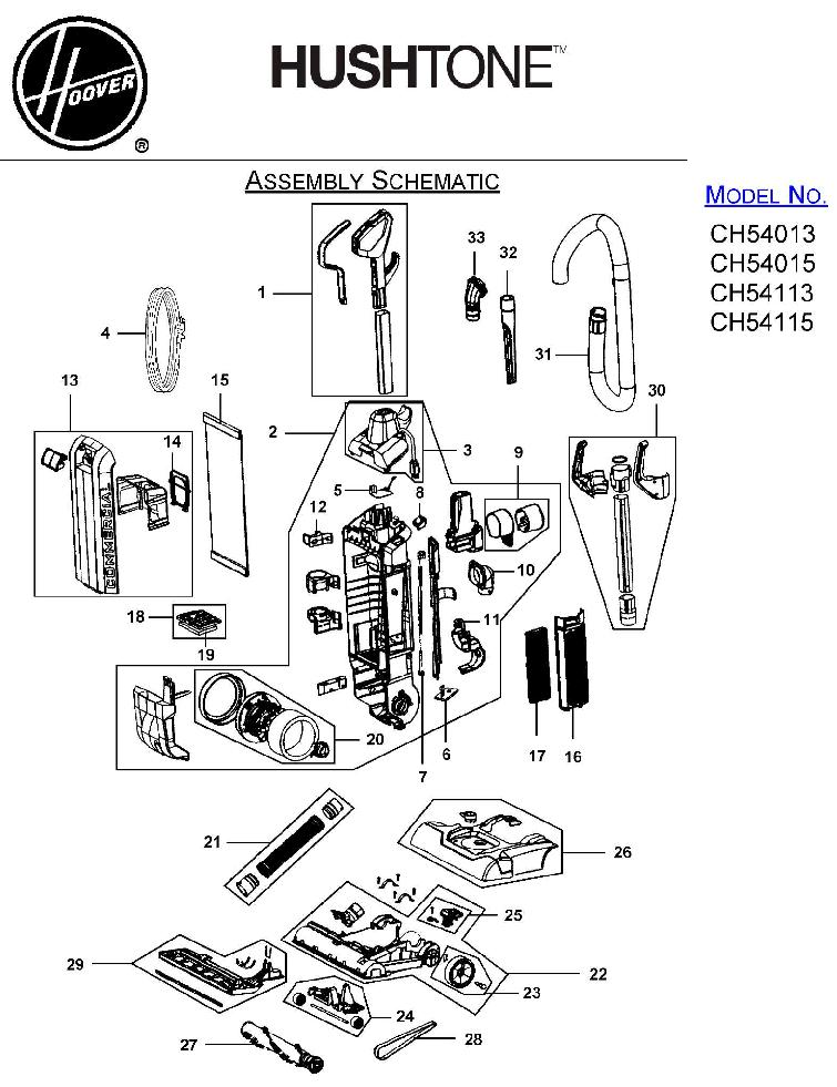 Hoover CH54015 Commercial HushTone Hard-Bagged Upright Vacuum Parts