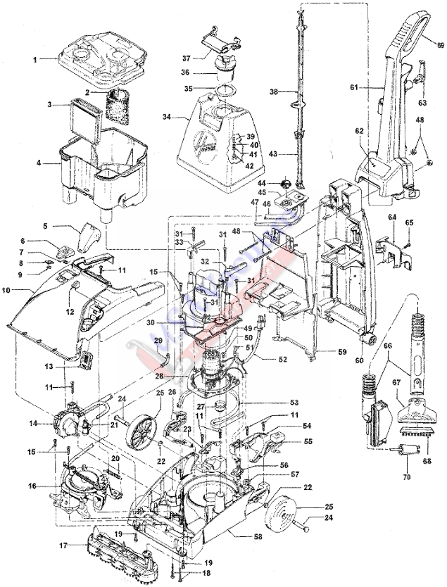 Hoover F5906 SteamVac SpinScrub Upright Extractor Parts USA Vacuum