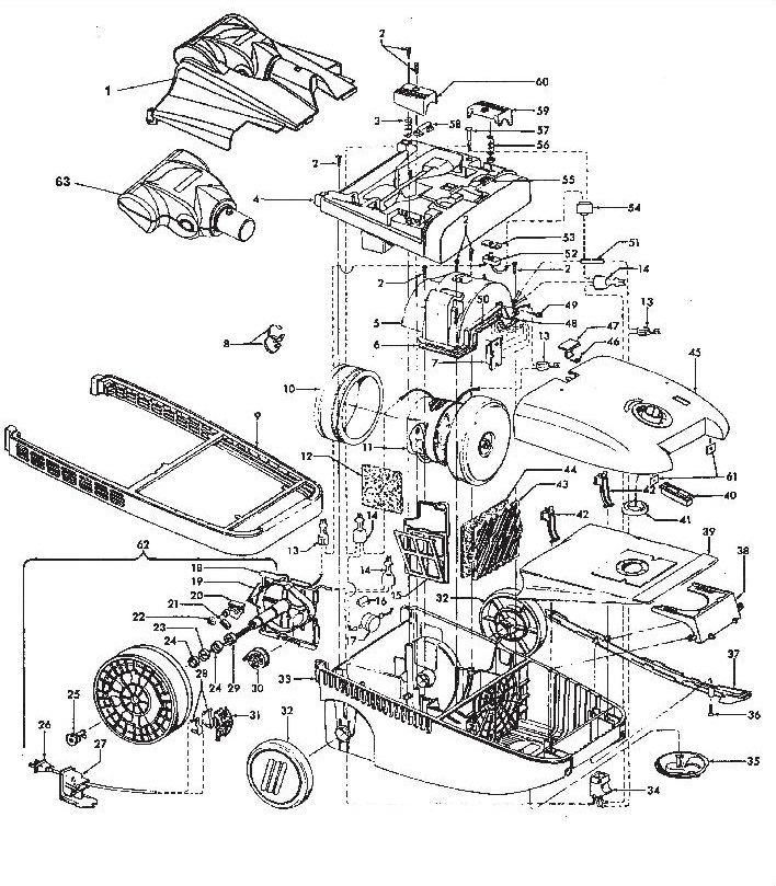 Hoover S3639 WindTunnel Canister Vacuum Parts List  Schematic USA