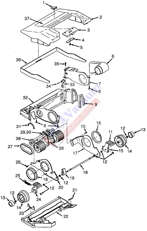 Hoover U3101 Concept One Upright Vacuum Parts USA Vacuum