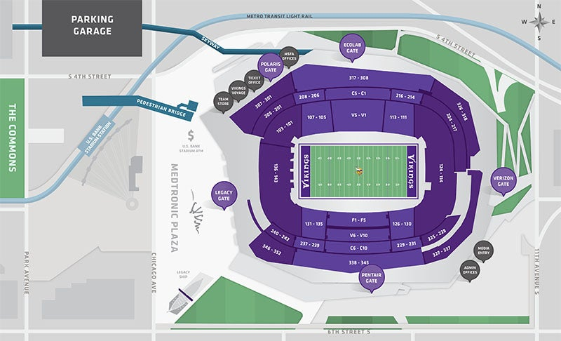 Stadium Maps US Bank Stadium