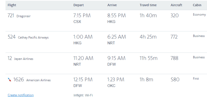 Sino-American business mileage ticket practice: AA single tickets