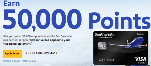 """Up to 50k card"" Chase Southwest Premier credit cards--a claim, take off"