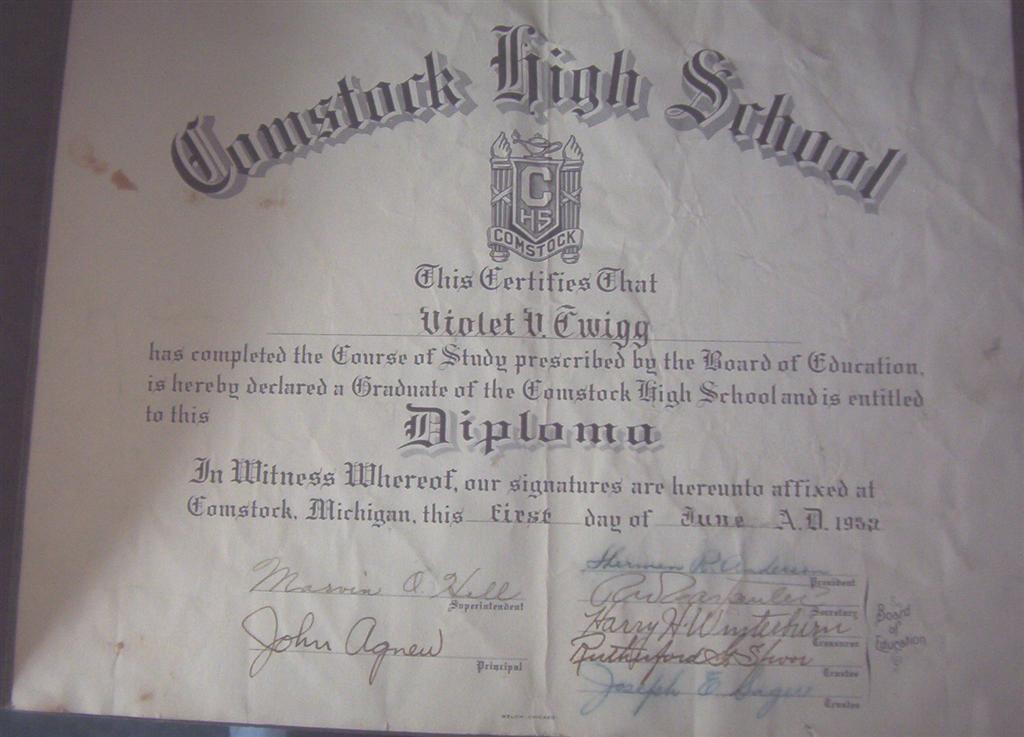 Violet V Twigg High School Diploma June 1, 1939