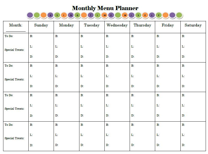 Planning for Success Print and Display Your Menu Planner \u2013 Day 3