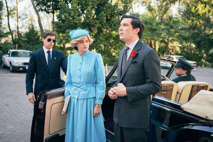 Emma Corrin as Princess Diana and Josh OConnor as Prince Charles in season 4 of The Crown The Crown Emma Corrin Says She Would Leave If She Saw Prince William and Prince Harry at a Party