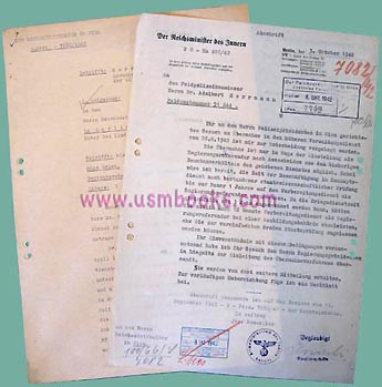 Nazi Police Promotion Request for Himmler 1942