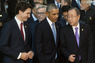General Ban Ki Moon Right And Canadian Prime Minister Justin Trudeau