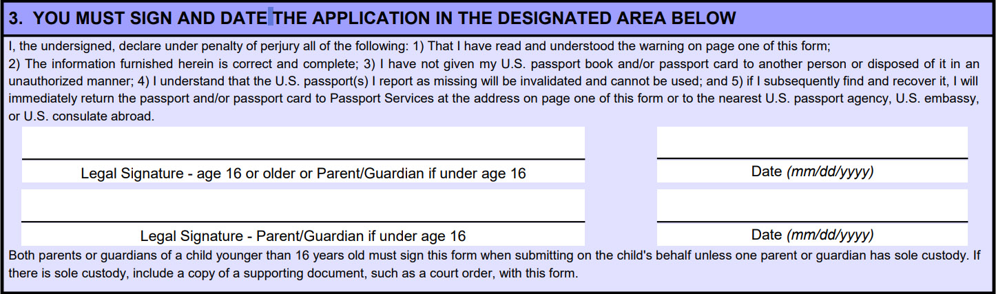 DS-64 Application for Lost or Stolen Passport - lost passport form