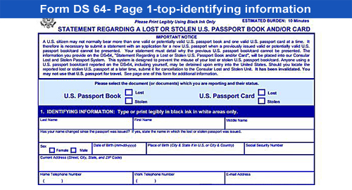 Ds Application For Lost Or Stolen Passport Passport Renewal Form - lost passport form