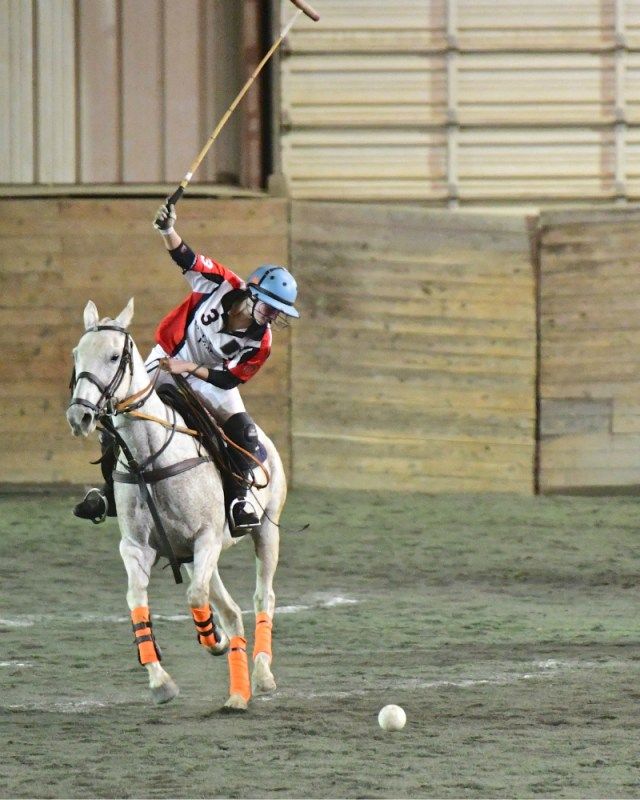 Maryland Polo Club's Maddie Grant with a gorgeous backshot swing.