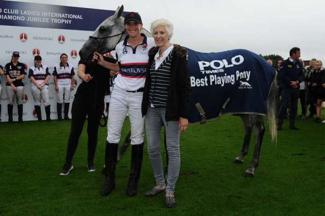 Nina Clarkin's grey mare Jess, a retrained racehorse, won Best Playing Pony.