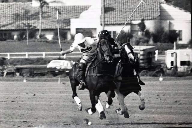 Judith Baker on the left in action at full speed during the 90s at San Diego Polo Club.