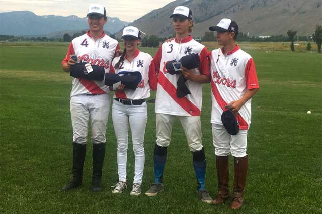 Jackson Hole Polo Club NYTS Qualifier Runners-up Melody Ranch West (L to R) Joe Coors, Madi Lange, Joe Mack Stimmel, Lars Neunman.