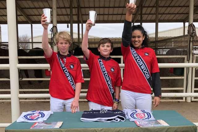 Prestonwood Polo Club Middle School Tournament Champions Prestonwood (L to R) Trenton Werntz, JB Long, Estephanie Turrbiartes.