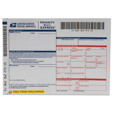 Priority Mail Express Label USPS - Sample Return Address Label