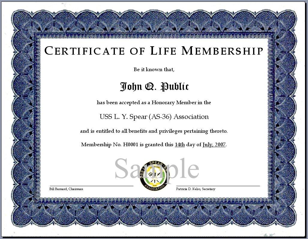 Doc727542 Membership Certificates Templates Membership – Life Membership Certificate Template