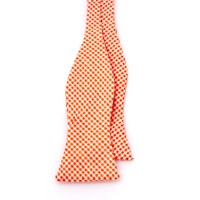 Orange and White Gingham Seersucker Bow Tie