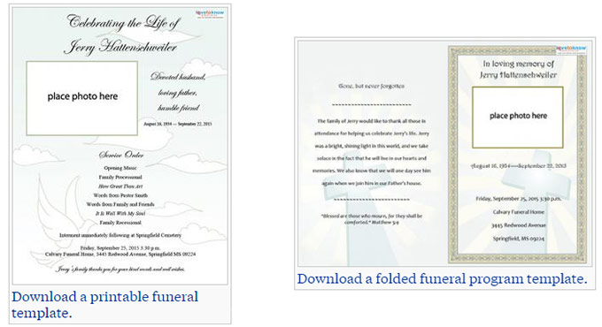 Our Favorite (Actually!) Free Funeral Program Templates » Urns Online - download funeral program templates