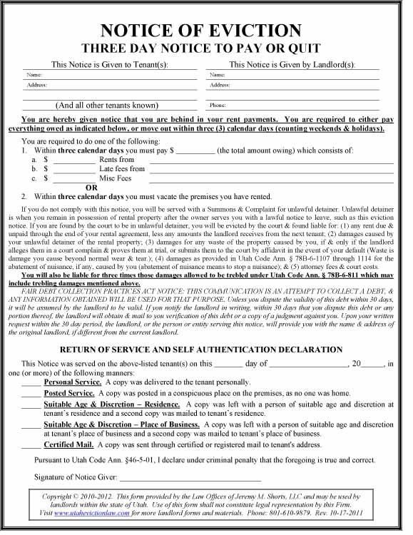 Utah Eviction Law - Utah Pay or Quit