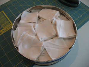 Cut cloth in the tin