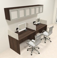 Two Person Modern Divider Office Workstation Desk Set, #CH
