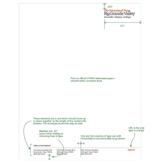 UTRGV Stationery - official letterhead