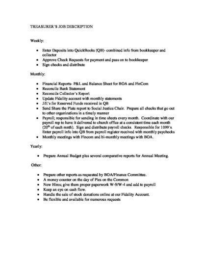 FP TREASURER S JOB DESCRIPTION-2 - First Parish in Framingham - treasurer job description