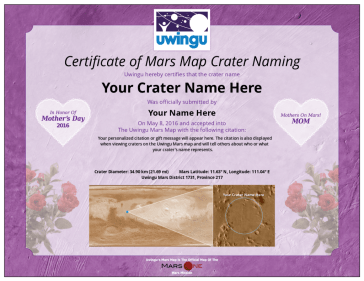 A Mars Map for your Mom, with her name on it!