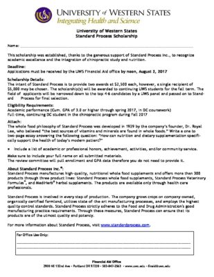 Standard Process Scholarship Application Form University of