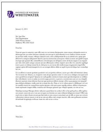 Letterhead and Fax Templates University of Wisconsin Whitewater - fax letter format sample
