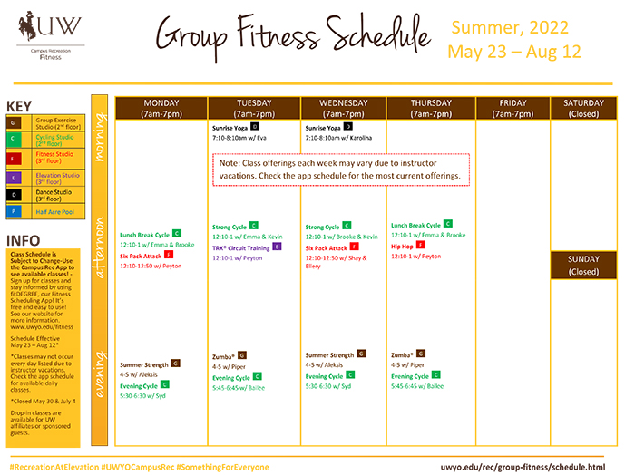 Schedule Group Fitness Campus Recreation University of Wyoming