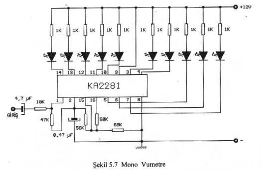dot circuit for dual led level meter driver using ka2281