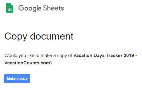 Vacation Days Tracker Spreadsheet Template (Google Sheets