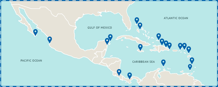 Map of Caribbean and Mexico Vacation Destinations - Vacation Express