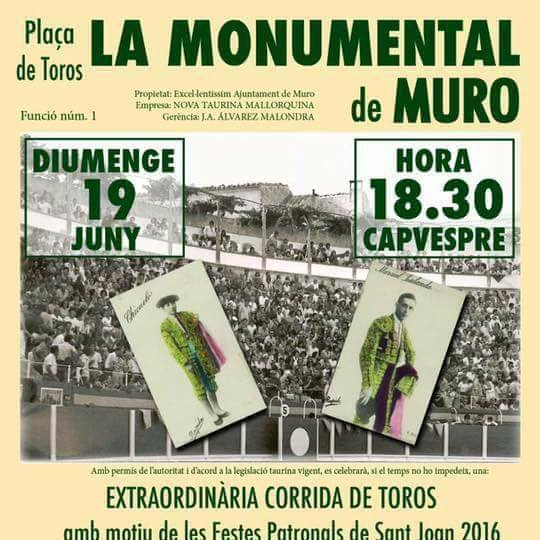 Muro anuncia una corrida de toros para el mes de junio