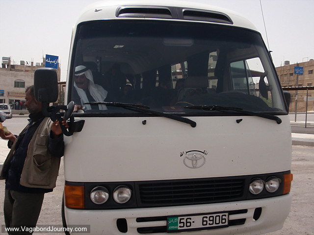 minibus taxi in amman station waiting to go to wadi musa