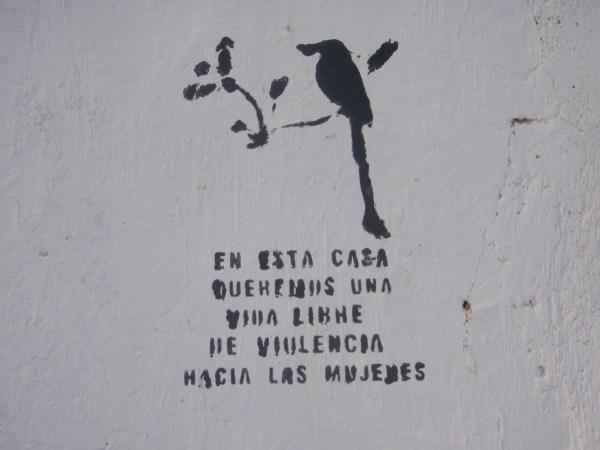 Anti-domestic violence stencil in El Salvador