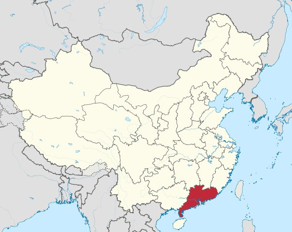 Map of Guangdong province