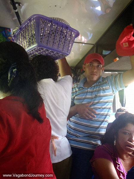 Fat lady selling food on bus