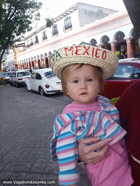 Petra wearing a Viva Mexico hat