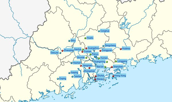 Map of the Pearl River Delta
