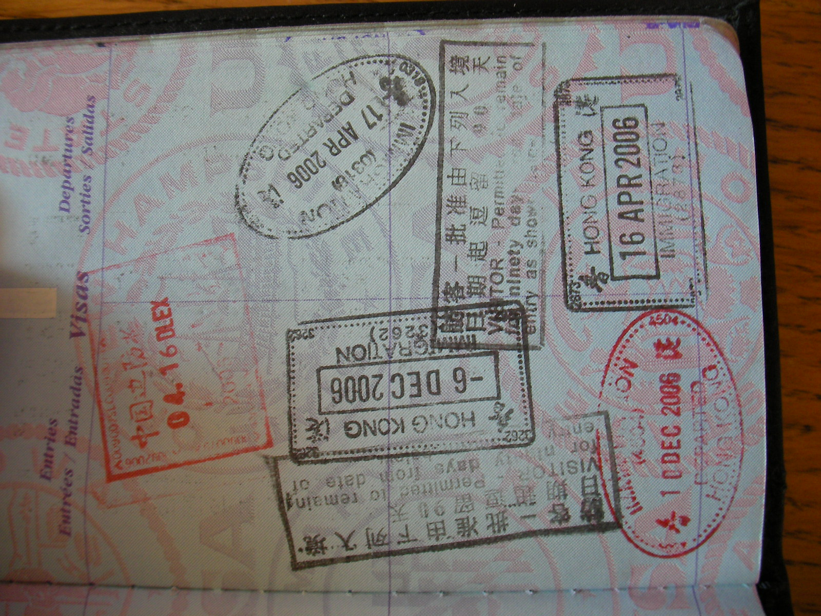 Stamps in passport tip