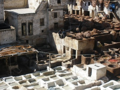 naked picture in Fes Tannery
